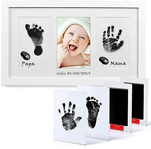 PewinGo Cadre Empreintes Bébé Encre avec Tampon Encreur, Kit Empreinte Pieds et Mains Bébé Pour Nouveau-né Bébé