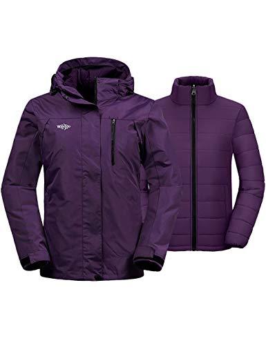 Wantdo Women's Windproof 3-in-1 Ski Jacket Winter Coat Snowboarding Jackets Dark Purple XL
