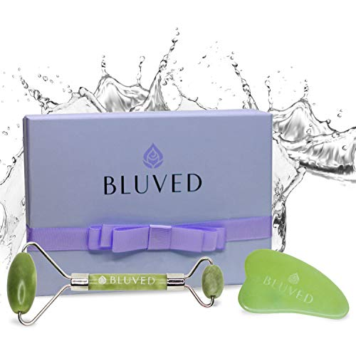 BLUVED Jade Roller for Face and Gua Sha Set - UPGRADED Design & Premium Natural Jade Stone - Face, Eye, Neck, Body Massager for Puffiness, Tension Relief, Anti Aging, Lymphatic Drainage - Perfect Gift