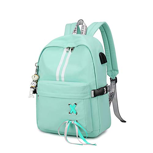 Silver Tulip Laptop Backpack College Shoulders Bags Children School Book Bags Girls Travel Canvas Backpack (Green, Large with USB Port)
