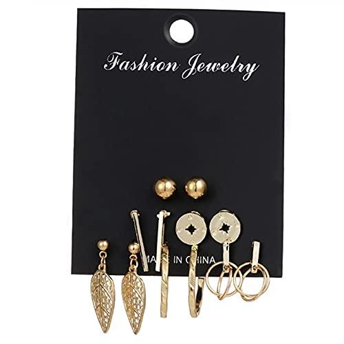 FEARRIN Pendientes Vintage Bohemain Pendientes de Mujer Pendientes de Cristal de Perlas para Mujer Joyería de Moda Bohemia Pendientes de botón de círculo Redondo geométrico H20-ZL0000428