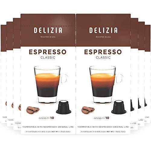 Delizia Coffee, Classic Espresso Pods, Nespresso Compatible Capsules for OriginalLine Machines, Medium Dark Roast Ristretto, Intensity 10 (80 Count)