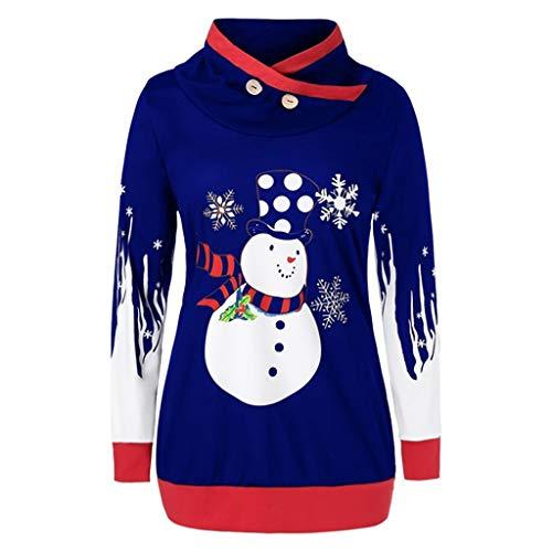 Auiyut Damen Winter Bluse Warm Langarm Shirt Rollkragen Weihnachts Top Schneemannmuster Pullover Patchwork Design Casual Jumper mit Knopfen