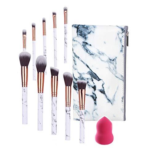 FORLADY Pinceaux de Maquillage 10 PCS Blush Fondation Pinceau Eye Visage Liquide Poudre crème Cosmétique Pinceaux avec Blender épongeet Un Sac à Cosmétiques(Marbre Blanc)