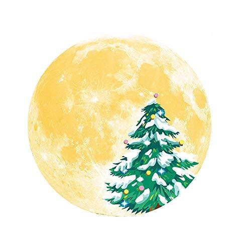 Etiqueta engomada de la pared de la Navidad, etiqueta engomada de la ventana de la pared del árbol del alce de la luna luminosa de la Navidad para la decoración del arte de la ventana de la pared de l