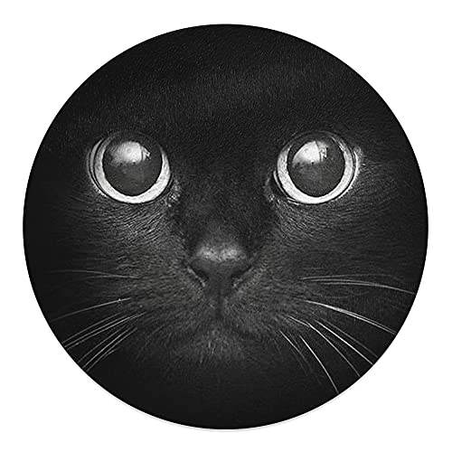 30cm Round Black Cat face Novelty Tempered Glass Chopping Board