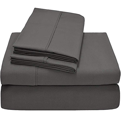"Lusso Mercato 4 PC Bedding Sheet Set 600 TC 100% Cotton Super Soft Long Staple, Italian Finish Fitted Sheet fits Upto 6"" deep Pocket Mattress Full, Dark Grey Solid"