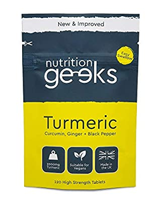 Turmeric Tablets 2000mg with Black Pepper & Ginger | 120 High Strength Curcumin Supplements | Turmeric and Black Pepper Tablets (Not Capsules or Powder) | Vegan and Gluten Free | UK Made Supplement