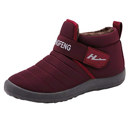 Luckycat Zapatillas de Estar Hombre Mujer Invierno Interior Exterior Zapatos Caliente de Lana Impermeables de PU Pantuflas Térmicos de Invierno Suave Algodón Casa Zapatos Cómodo Y Antideslizante