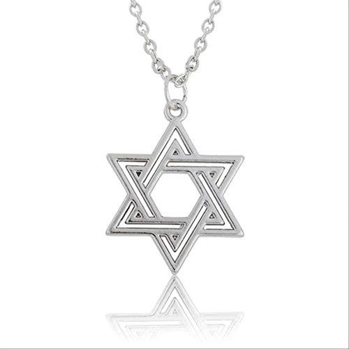 LKLFC Collar Mujer Collar Hombre Collar Collar Joyas Regalo Broche de Langosta Cadena de eslabones Colgante Collar Símbolo judío Estrella Religiosa Colgante Collar Niñas Niños Regalo