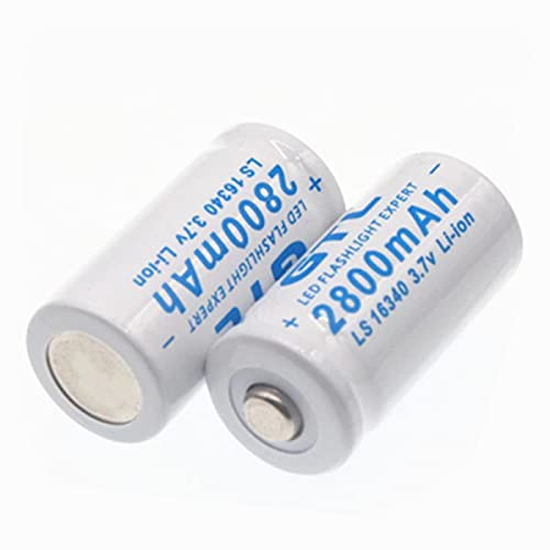3.7V 2800mAh Litio Li-Ion 16340 Batería CR123A Baterías Recargables 3.7V CR123 para lápiz láser Celda de Linterna LED 2PCS