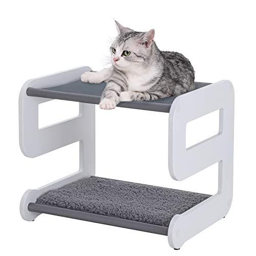 FEANDREA Katzenliege mit 2 großen Liegeflächen, Katzenmöbel mit 2 Ebenen, gemütlicher katzenliege, Katzenspielzeug, robust, Oxford-Gewebe, MDF, 48 x 40 x 40 cm, 9-förmig, weiß, grau PCB02WG