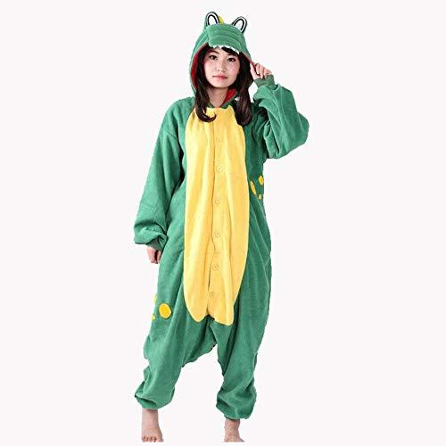 SUMHOM Pijamas de una Pieza de animación de Dibujos Animados de cocodrilos Animales de otoño e Invierno, Ropa de hogar para Hombres y Mujeres-Verde_S