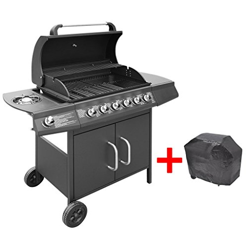 Festnight BBQ Gasgrill Barbecue-Grill Grillwagen Gas-Grill 6 Große Brenner und 1 Seitenbrenner Schwarz