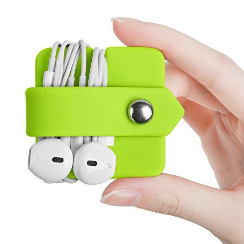 ELFRhino Silicone Earphone Organizer Earphone Wrap Winder Headphone Cord Organizer Wrap Winder Manager/Cable Winder(Green, 1 Piece)