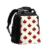 Mochila Organizador de bolsa de pañales Hoja de arce canadiense Seamless Vector Mochila para mujer Bolsa de pañales Mochila de viaje multifunción con almohadilla para cambiar pañales para el cuidado