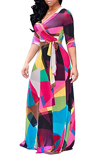 Locryz Women's V Neck 3/4 Sleeve Digital Floral Printed Party Loose Long Maxi Dress with Belt S-3XL (L, Red)