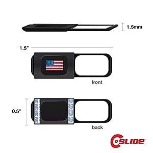 C-Silde 1.0 Webcam Cover, Black, Pack of 3