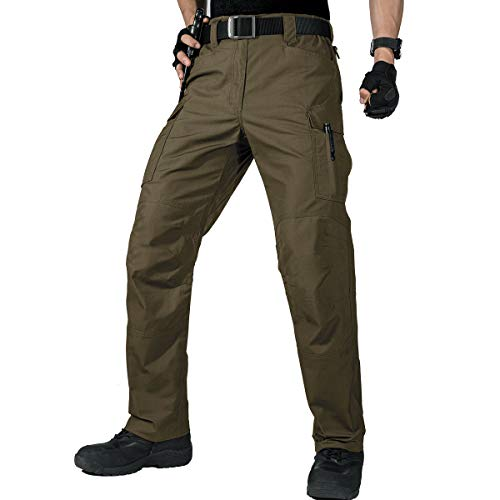 FREE SOLDIER Men's Water Resistant Pants Relaxed Fit Tactical Combat Army Cargo Work Pants with Multi Pocket (Moss Green A 34W/32L)