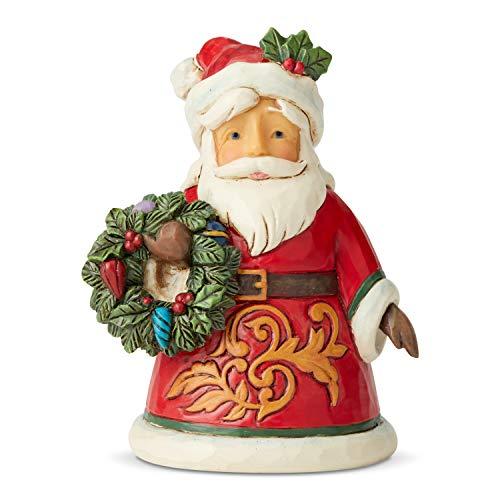 Jim Shore Heartwood Creek Miniatura di Babbo Natale con Ghirlanda, 9 cm