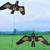 Cometa Espantapajaros Halcon Repelente De Aves, Cometa Águila Repelente De Pájaros Halcón Volador con Cuerda De 2 M, Espantapajaros Volador para Exterior Huerto Balcon Terraza Jardín Granja