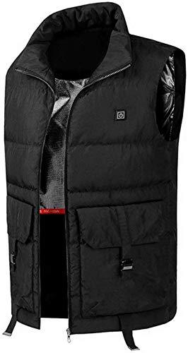 CHNDR Elektro Warme kleding/verwarming vest, met USB-kabel (zwart/blauw) - voor werken buitenshuis camping bike en skiën, blauw 3XL