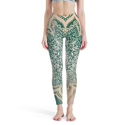 Lind88 -Psychedelische gladde broek Vrouwen, Leuke Leggings Lente Aarde Gouden Mandala Patroon Thema Mode Gedrukte Leggings Leggings voor Vrouwen Plezier