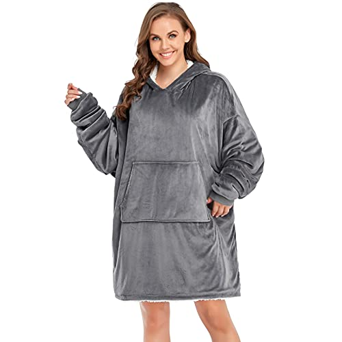 Manooby Blanket Hoodie for Women and Kids, Hoodie Blanket Sweatshirt with Long Sleeves, Giant Pocket, Super Warm and Soft Mink Fleece(Dark Grey)