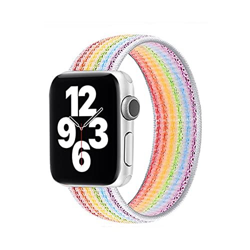 Hspcam Solo Loop Correa de nailon suave y transpirable para Apple Watch Band 44mm 40mm 38mm 42mm Pulsera elástica para iWatch Series 6 SE 5 4 3 (para 42MM o 44MM,05 multicolores)