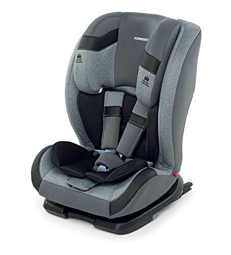 Foppapedretti Re-Klino Fix Kinderzitje voor de auto, groep 1/2/3, 9-36 kg, voor kinderen van 9 maanden tot 12 jaar Zilver.