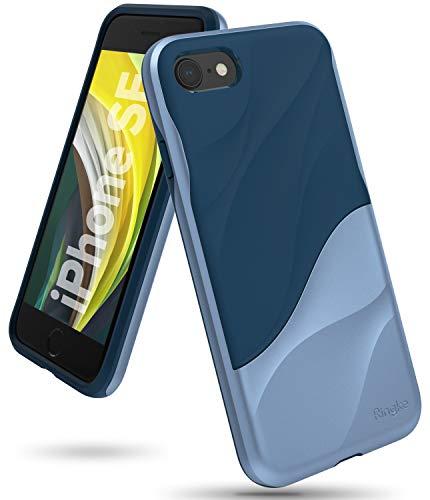 Ringke [Wave Custodia Compatibile con iPhone SE (2020), iPhone 8, iPhone 7 Cover Salvaguardia dello Strato TPU Rigida per PC Pesante Assorbimento Design Fluente del Movimento - Coastal Blue