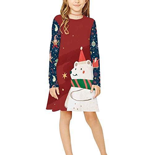 Vestido para Niñas Navidad,Chickwin Conjunto Niña Cuello Redondo Poliéster Ropa Nacido Casual Manga Larga Vestidos Niña Ceremonia Regalo para 9-12 Años (Oso Polar Rojo,L: 155-165cm)