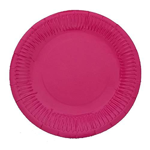 Lynn025Keats - 10 platos de papel desechables para fiesta de cumpleaños Rosa rojo