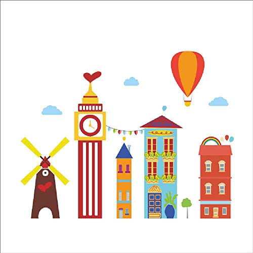 LKNS Muursticker Cartoon Bouwen Hete Luchtballon Molen Muur Stickers voor Kinderen Kamers Window Home Decor PVC Muurstickers DIY Mural Art Posters 285