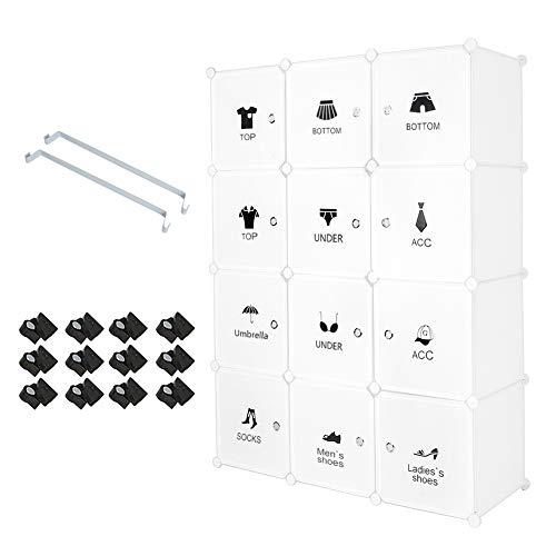 Aufbewahrung Garderobenschrank Weiss Kleiderschrank, Garderobenschrank mit 2 Kleiderstange in Weiss, für Kleidung Schuhe Spielzeug und Bücher, DIY Modular Regalsystem mit verschieden (12-Kubus)