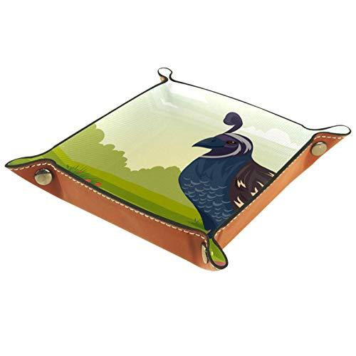 Caja de almacenamiento pequeña, bandeja de valet para hombre,Huevos de codorniz ave flor prado,Organizador de cuero para llaves de caja de monedas
