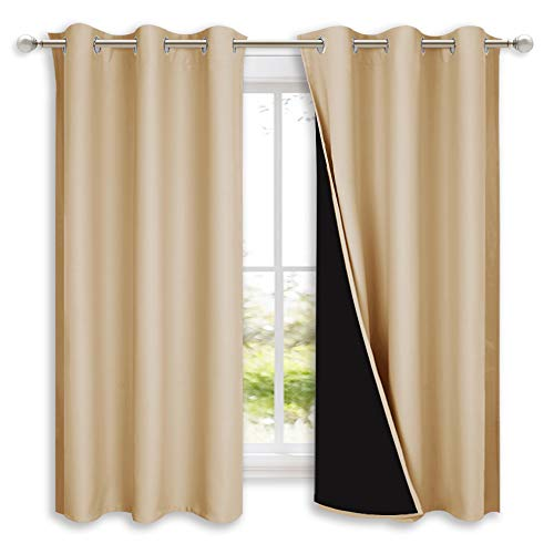 NICETOWN Bedroom Full Blackout Curtain Panels, Super Thick Insulated Grommet Drapes, Double-Layer Blackout Draperies with Black Liner for Small Window (Set of 2 PCs, 42 by 63 inches, Biscotti Beige)