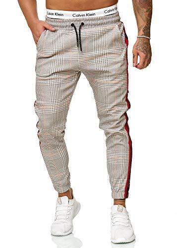Code47 Herren Jogginghose Trainingshose Freizeihose Fitnesshose Basic Sport Fitness Gym Training Slim Fit Sweatpants Streifen Jogging-Hose Stripe Pants (L, Grau Rot)