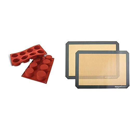 silikomart 20.028.00.0060 Stampi, Silicone, Rosso & AmazonBasics - Tappetini da forno in silicone, Set da 2 pezzi