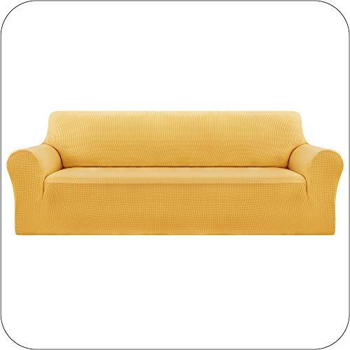 UMI Amazon Brand Funda Elastica para Sofa Ajustable 4 Plazas Amarillo