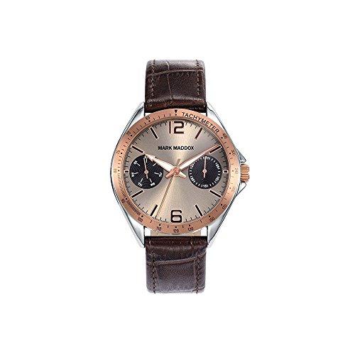 Mark Maddox Herren Multi Zifferblatt Quarz Uhr mit Leder Armband HC7006-45