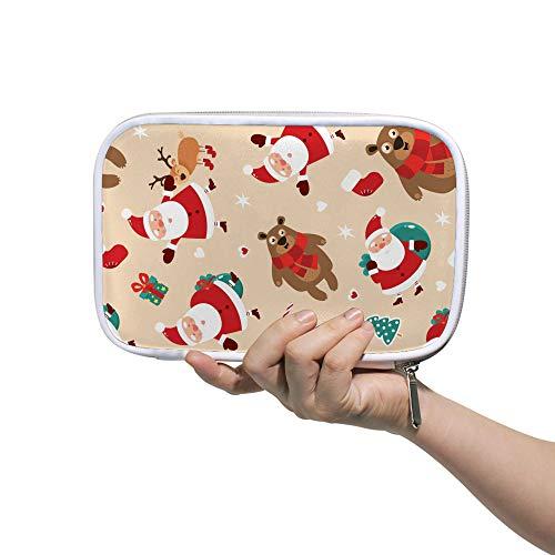 Ruchen Big Pencil Case Cosmetic Bag Christmas Santa Claus Deer Bear Gift Big Capacity Stationery Bag 23cm