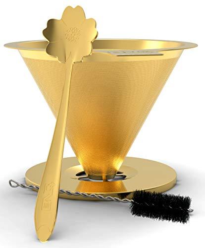 BND+ Gold-Kaffee-Tropfer, konisch gewebter Edelstahl-Kaffeefilter, langsam tropfender Kaffee-Tropfer, wiederverwendbarer Pour Over Kaffeefilter, papierloser Filter mit Reinigungsbürste