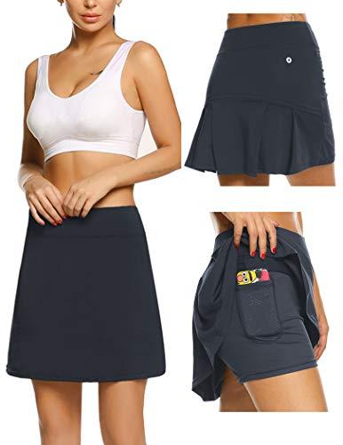 Damen Rock Kurz Tennisrock Yoga Skort mit Innenhose Taschen Sportrock für Frauen Mädchen Golf Sport Grau M