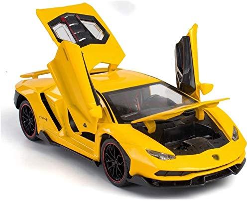 ZHANG Modelo De Coche Muscular Elevable De ala Trasera, Seis Puertas Simuladas con Maleta Extraíble, Regalos para Vehículos De Juguete para Niños,Yellow