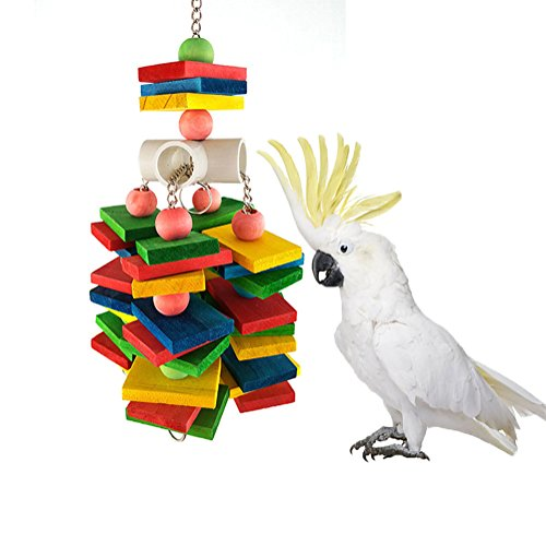 Keersi Large Parrot Chew Toy for Bird Macaw African Greys Cockatoo Eclectus Budgies Parakeet Cockatiel Conure Lovebirds Cage Wood Toy