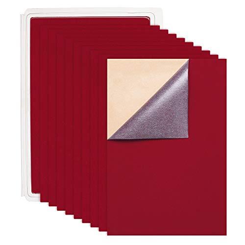 BENECREAT 20 STÜCKE Selbstklebendes Samtgewebe A4 Blatt Klebrige Rückseite Kleber Filz Ideal für Kunst und Handwerk (21 cm x 30 cm, Dunkelrot)