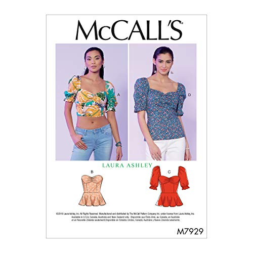McCall's Patterns McCall's Women's Crop Top and Full Length Blouse Sewing Laura Ashley, Sizes 14-22 Patterns, White