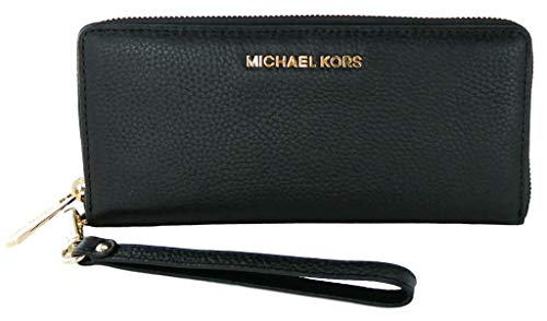 Michael Kors Jet Set Travel Continental Leather Wallet/Wristlet - Black/Gold, Medium