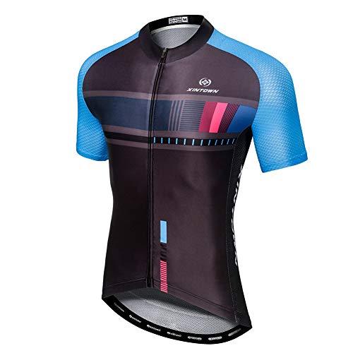 YFPICO Hombre Traje de Ciclismo Mailot Transpirable para Deportes al Aire Libre Ropa Ajustada Cuerpo, Negro Azul Tops, XL